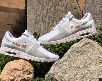 Just Released Woman's Nike Air Max Zero Sl W/Swarovski Crystals - White-Wolf Grey