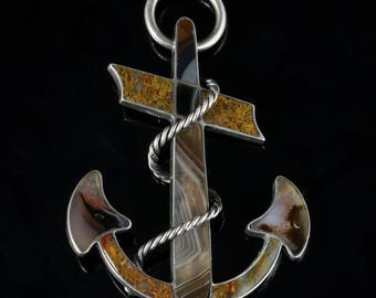 Antique Victorian Scottish Anchor Brooch Pendant Large 1860