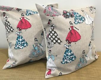 "PAIR Cushion Covers Vintage Linen Fabric Ladies 50's style dresses. Decorative Throw Pillow 18"" (45cm). Made Australia. Set of 2"