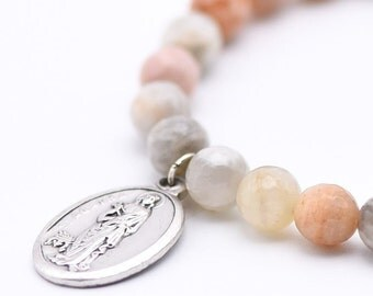 St. Agatha, Breast Cancer Saint, Healing Bracelet, Inspire, Pink Bracelet