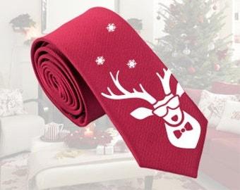 Christmas Silk Tie - Reindeer Tie - Slim Tie - Wedding Tie - Casual Tie - Smart Tie - Christmas Gift -  Birthday Gift - Valentine's Day