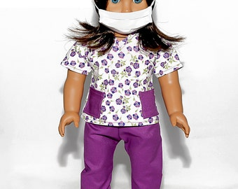 American made Girl Doll Clothes, 18 inch Doll Clothing, Purple Scrubs Outfit made to fit like American girl doll clothes