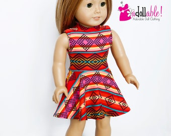 American made Girl Doll Clothes, 18 inch Girl Doll Clothing, Southwestern Striped Knit Dress made to fit like American girl doll clothes