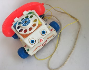 Fisher Price Phone Chatter Telephone Vintage Toy 60s Toy Story Phone Kids Toy Phone Vintage Fisher Price Telephone Toy Retro Toys