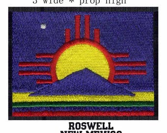 Roswell New Mexico Flag Iron On Patch 3 x 2 inch Free Shipping (medium)