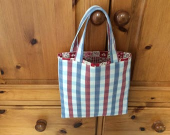 Little bag, small tote bag, children's tote bag, gift bag, red and blue, checked fabric