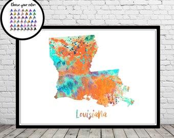 Louisiana map, watercolor Louisiana, Louisiana print, Louisiana, Louisiana art, watercolor print, Office Art(3404b)