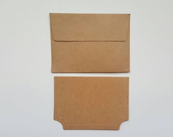 Mini Kraft Cards and Envelopes, set of 12.   Great for Rolodex, Pocket Letters
