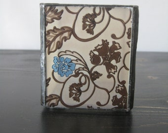 Stained Glass Candle Holder / Stained Glass Cube-shaped Candle Holder / Ivory with Black and Blue Floral Design Stained Glass Cube