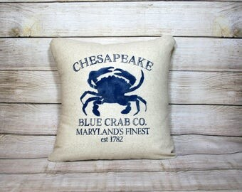 Chesapeake Blue Crab, Throw Pillow