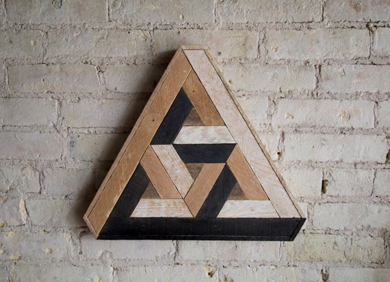 Reclaimed Wood Wall Art | Wood Decor  | Reclaimed Wood | Wood Art | Rustic Geometric| Wood Decor | Handmade | Penrose | Impossible Geometry