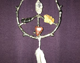 Sacred Medicine Wheel Peace Sign with Natural Stones
