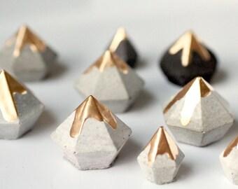 Gold lustre dipped concrete diamonds/set of 6 small cement decor paperweights/terrerium decor concrete home & studio accents