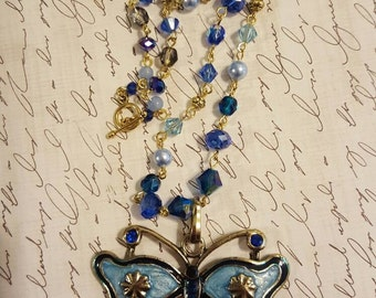 Varsity Blues butterfly necklace