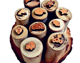 Set of six natural play dough stamps