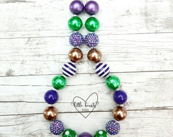 Purple, green & brown chunky bubblegum necklace