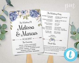 Blue Peony Wedding Program Fan Template, Blue Floral Wedding Program Template, Blue Watercolor Flowers Wedding Ceremony Program