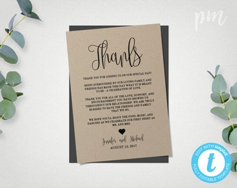 Wedding Thank You Cards Template, Printable Thank You Cards, Thank You Printable Template, Instant Download, Kraft Printable Thanks Template