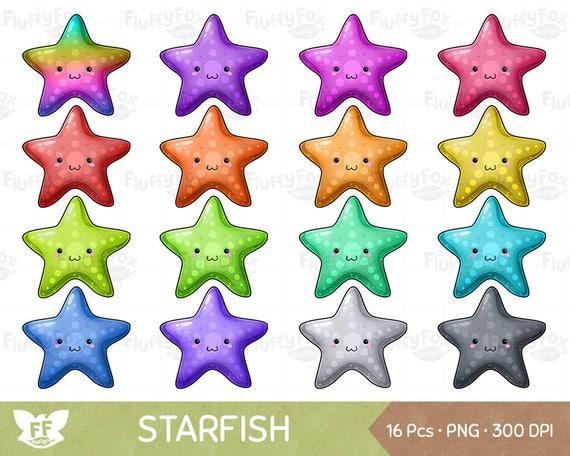 Kawaii Starfish Clipart, Sea Life Marine Starfishes