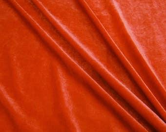 "Orange Fabric, Stretch Velvet Fabric, Decor Fabric, Sewing Fabric, 57"" Inch Wide Fabric By The Yard ZVE90F"