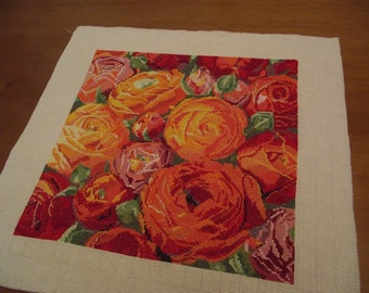 Finished completed Cross stitch Handmade embroidery Gift Embroidered flower flowers buttercups full Rooms'