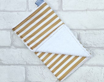 Burp Cloth // Baby burp cloth with brown and white stripes from newborn