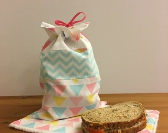 Reusable Sandwich Bag and Napkin. Reusable Lunch Bag. Personalized