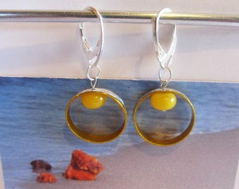 Amber Earrings 1.9 gr. Natural Baltic beads metal ring Silver color french clasp yellow egg yolk butterscotch round tablet for adult Teens
