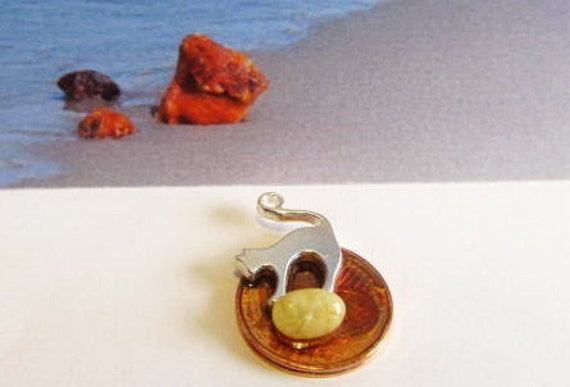 Cat 100% Natural Baltic #Amber #Souvenir #gift Silver plated  figure lucky coin 2