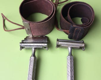 Ever Ready Automatic stropper and strops , 2 vintage leather strops , auto stroppers , vintage shaving , leather strops , strops , male groo