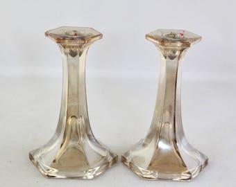 Vintage Brown Iridescent Candlestick Holders