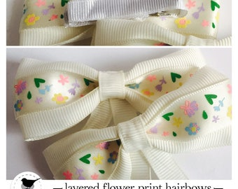 Flower print layered hair bows