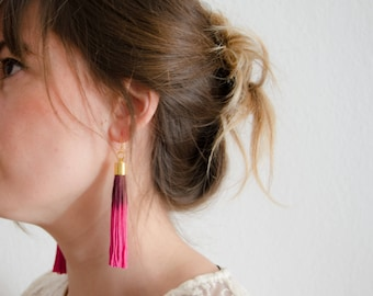 tassel earrings / long earrings / statement earrings / fucsia pink earrings / bold earrings / lightweight earrings / pink earrings / earring