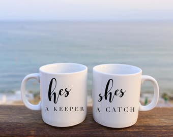 His and Hers | His and Hers Mugs | He's a Keeper | She's a Catch | Mermaid | Captain | Gifts for Couples | Better Together