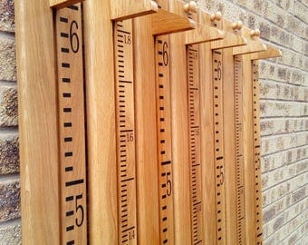 Personalised Wooden Growth Chart / Height Chart in Solid Oak, Ideal Christening Gift