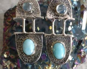 Larimar and Moonstone Earrings