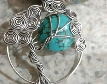 Wire Wrapped Turquoise Tree of Life Pendant Necklace