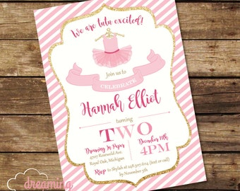 Tutu Two Birthday Party Invitation - Pink and Glitter Gold!