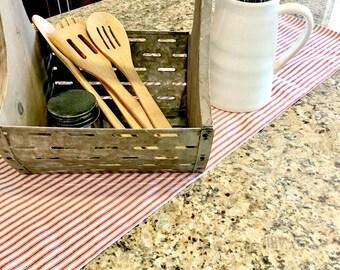 Farmhouse table runner, red stripe table runner, farmhouse linens