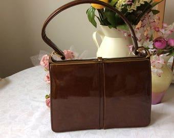 Vanity Fayre Vintage Handbag Retro Brown Patent Leather Suede interior Mid-century
