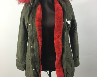 Luxury gift/Red  Parka fur Rabbit  /Hooded/ Wedding,or anniversary present