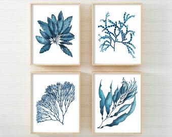 Coral Print Set, Wall Art, Prints, Coral, Seaweed, DIGITAL DOWNLOAD Watercolor Art, Navy Blue, Nautical Prints, Wall Art, Australian Art
