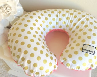 Glitz Gold Dot and Coral Nursing Pillow Cover