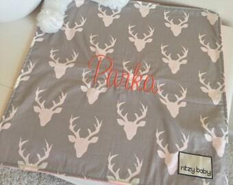 Grey Deer Travel Lovey, Choose Your Minky Baby Lovey, Travel Blanket, Night Night Blankets, Take to Grandma Blankets