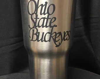 Ohio State Buckeyes script tumbler. O-H-I-O people engraved RTIC stainless steel cup. Ohio State Buckeyes engraved on RTIC stainless tumbler