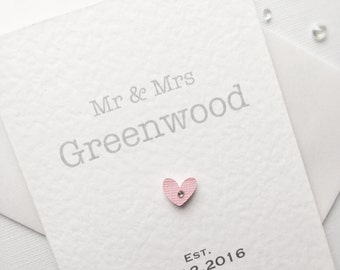 Wedding Card, Mr & Mrs Card, Anniversary Card, Engagement Card, Congratulations Card, Personalised Card, Bride and Groom, Cute Wedding Card