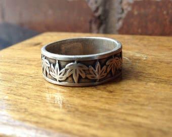 Old Vintage Sterling Silver Pot Leaf Ring