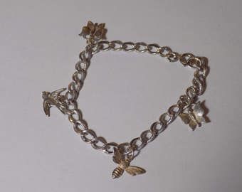 Sterling Silver nature-themed charm bracelet