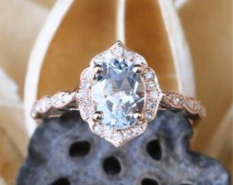 Vintage Aquamarine Engagement Ring,Natural 6*8mm Oval Cut Aquamarine Ring,Floral Shape,Halo DiamondS,Art Deco Ring Band,14K Rose Gold Ring