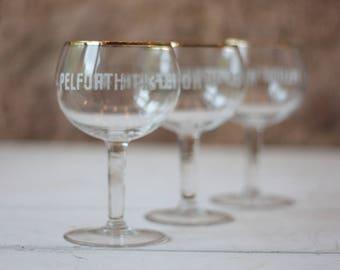 Set of 3 Vintage Pelforth 43 Beer Glasses